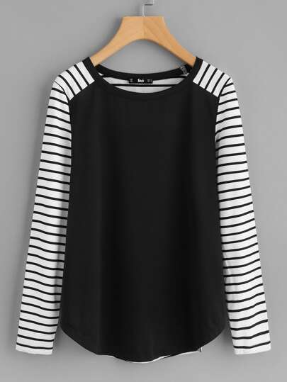 Elbow Patch Detail Striped T-shirt