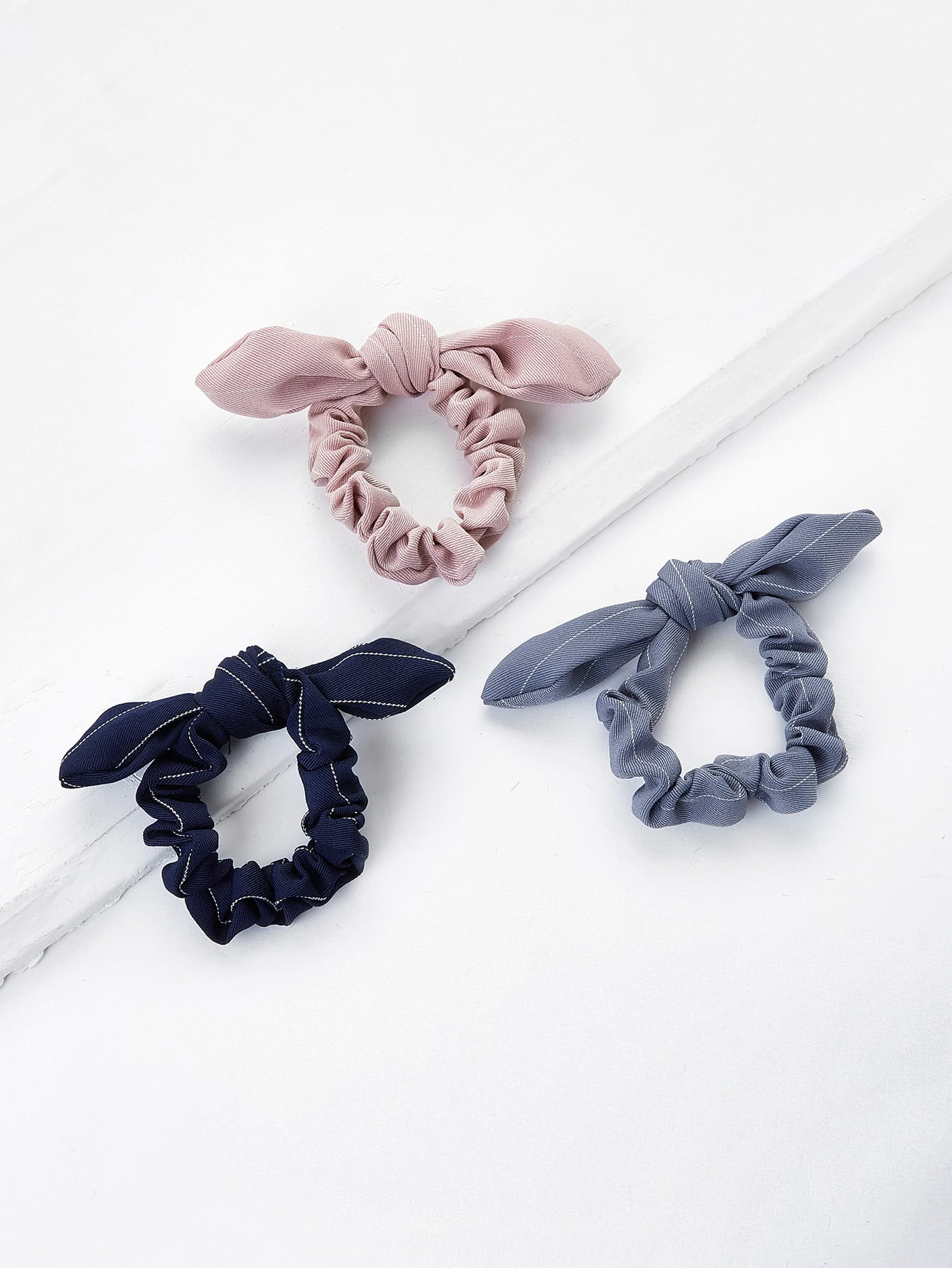 Knotted Bow Striped Hair Tie 3pcs цена и фото