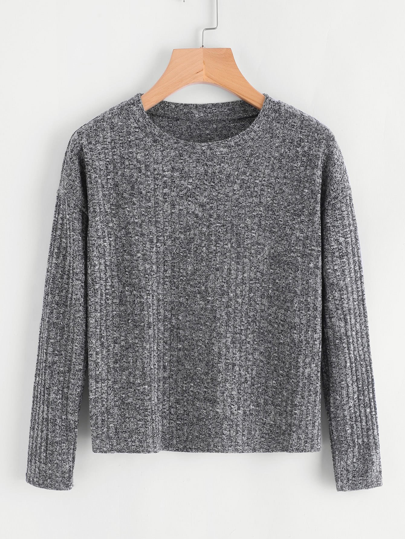 Drop Shoulder Ribbed Sweater dark grey ribbed trim drop shoulder lace up sweatshirt