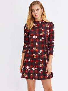 Mock Neck Christmas Print Dress