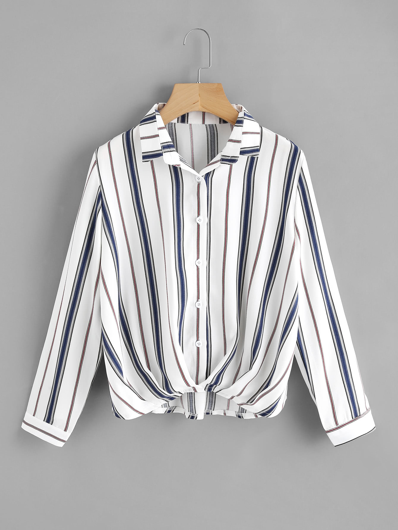 Pleated Gathered Front Dip Hem Striped Shirt all over florals dip hem shirt