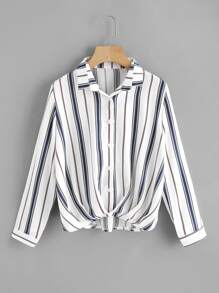Pleated Gathered Front Dip Hem Striped Shirt