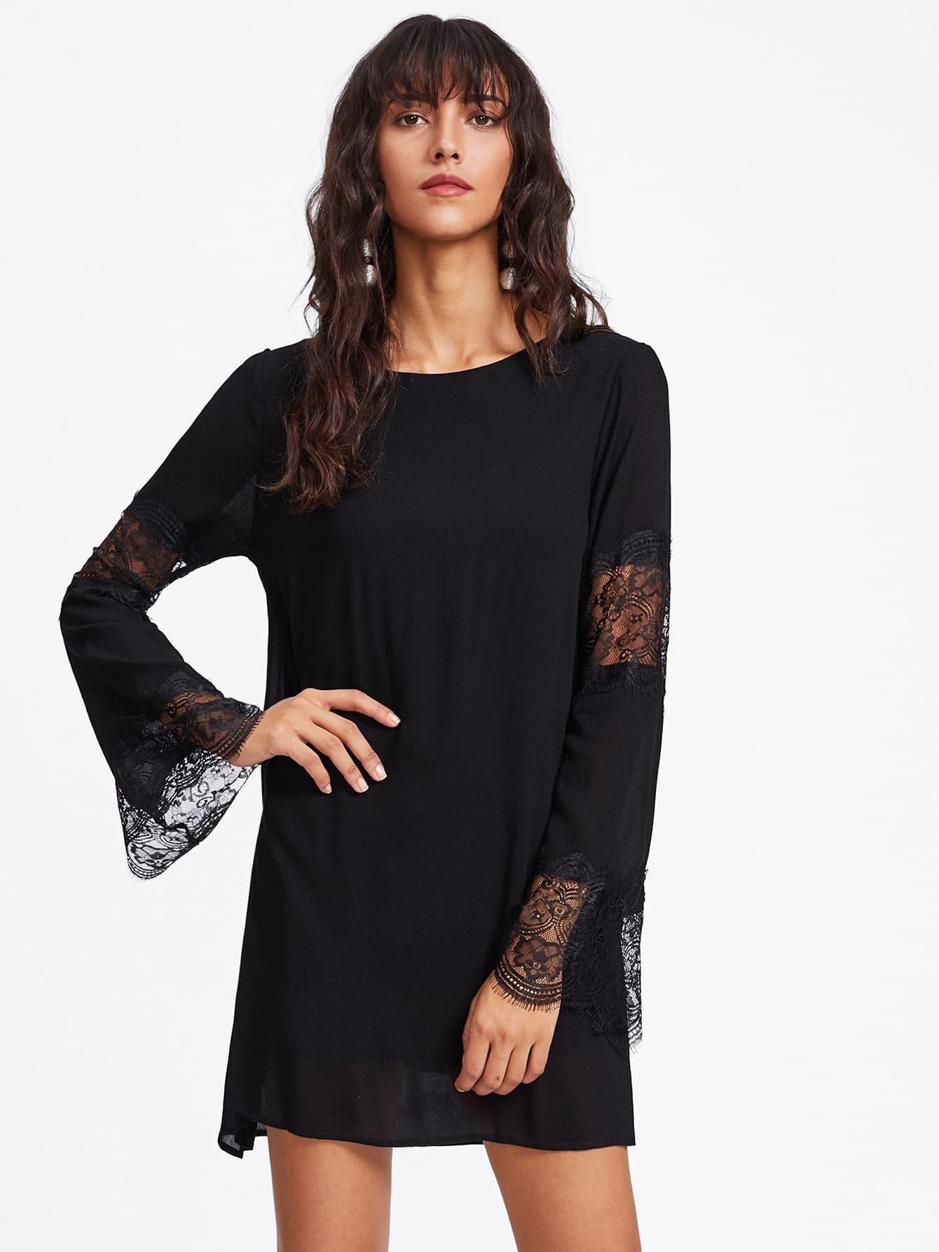 Contrast Scallop Eyelash Lace Double Layer Dress dress170918010