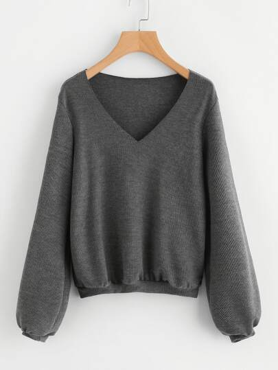 Bishop Sleeve Ribbed Sweatshirt