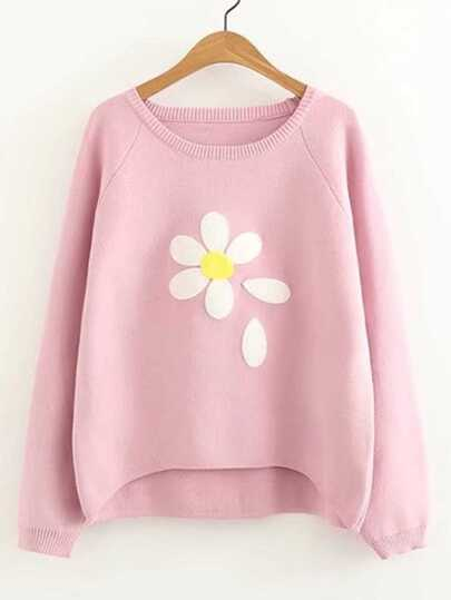 Raglan Sleeve Dip Hem Flower Sweater