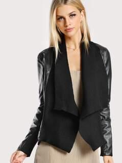Faux Leather Ribbed Jacket BLACK