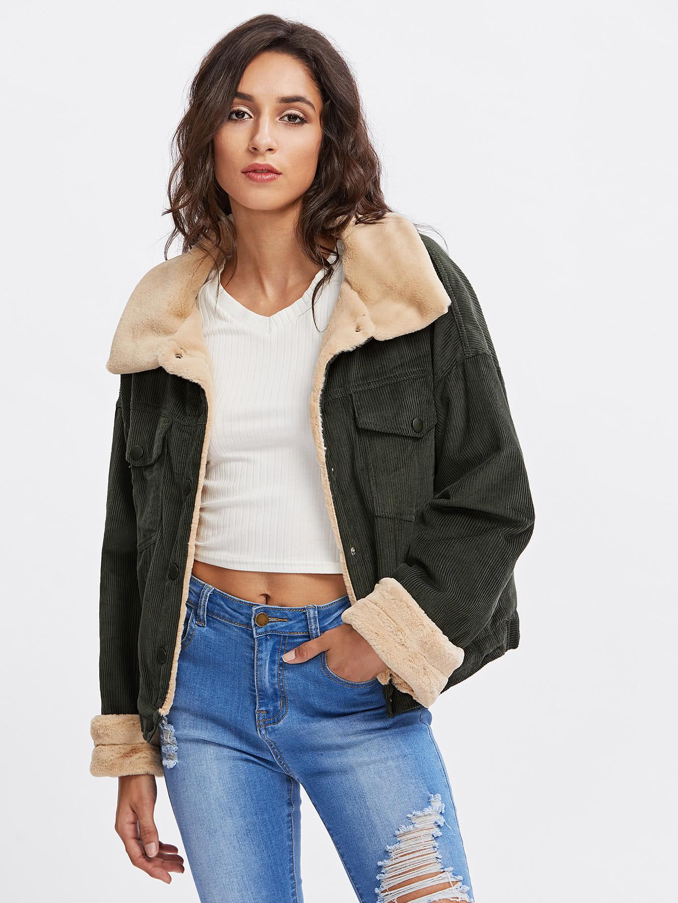 Corduroy Contrast Short Faux Fur Jacket drop shoulder contrast faux fur sleeve sweatshirt