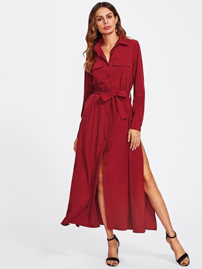 Split Side Tie Waist Shirt Dress