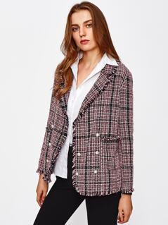Frayed Trim Pearl Button Tweed Blazer