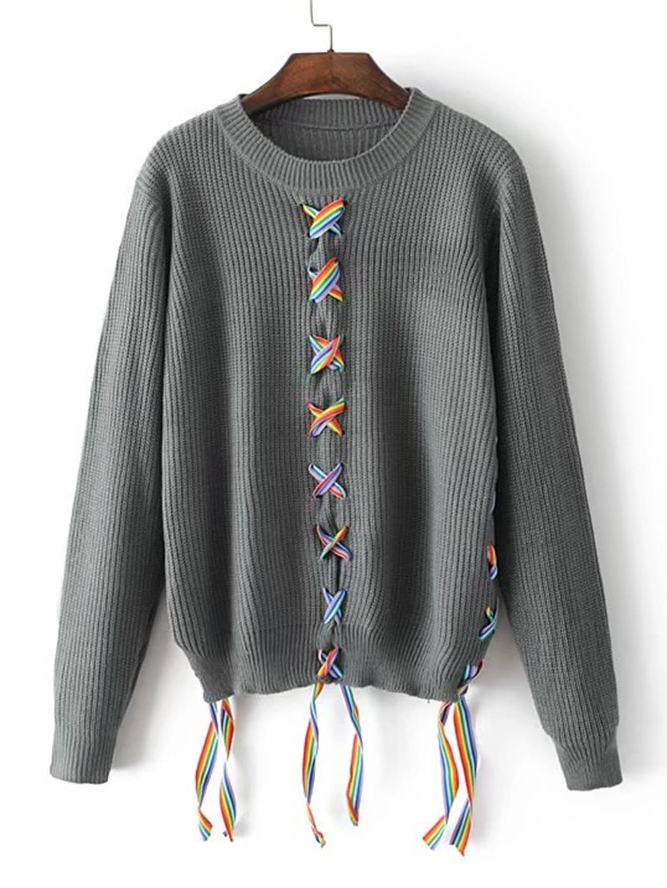 Contrast Lace Up Ribbed Knit Sweater RKNI170911211