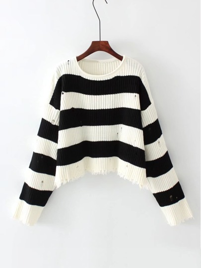 Block Striped Ripped Knit Sweater