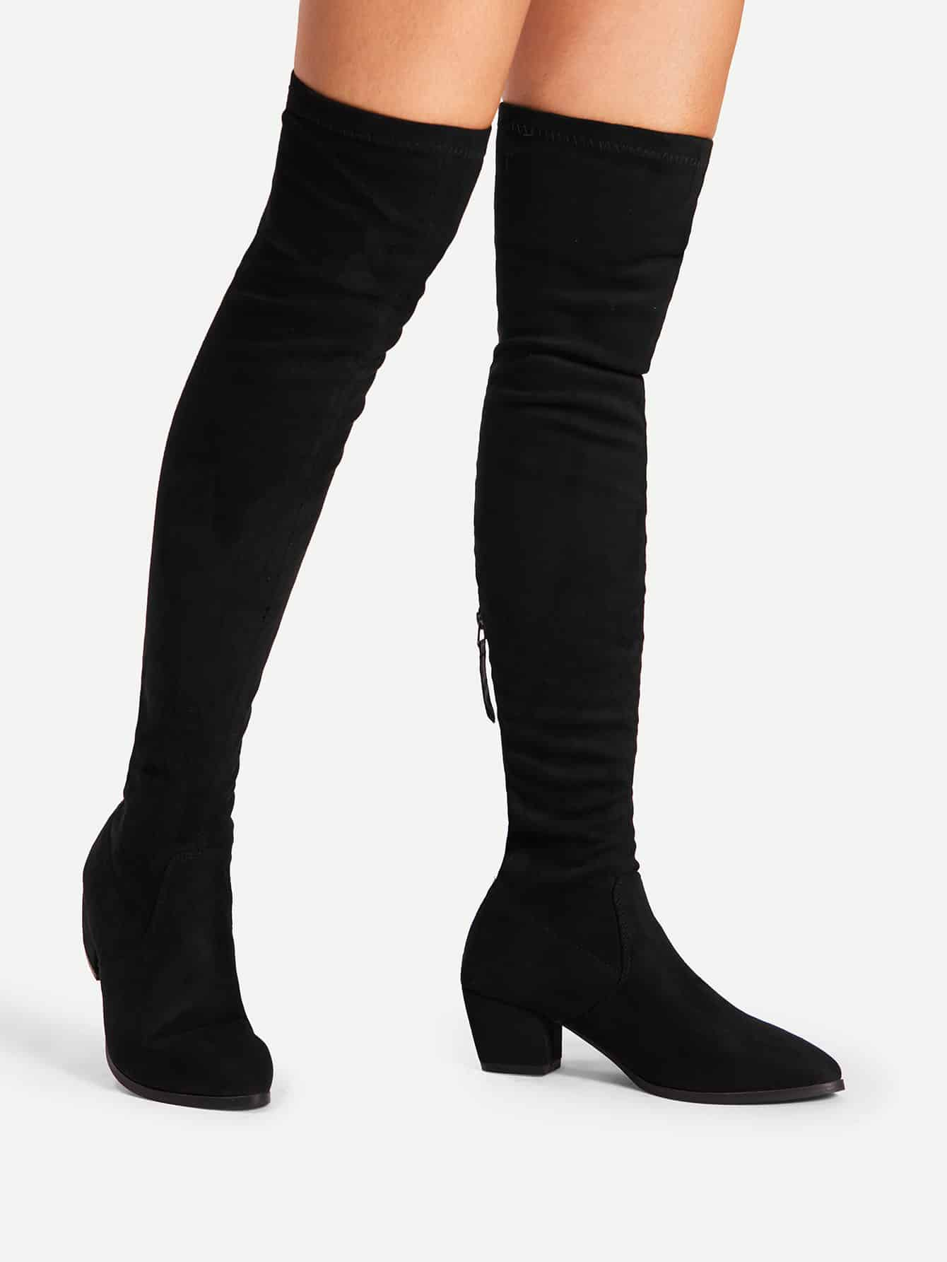 Back Zipper Block Heeled Thigh High Boots