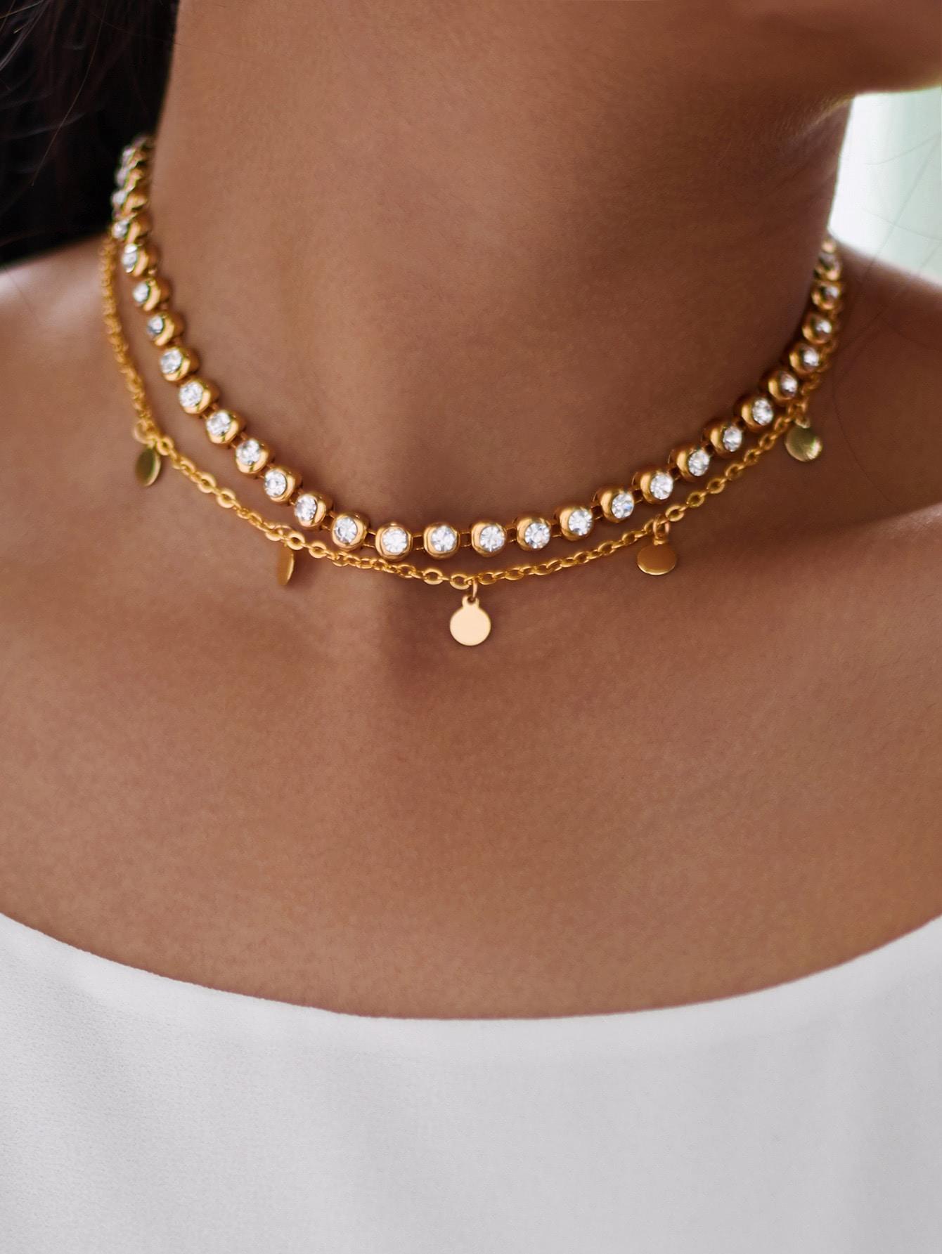 Rhinestone & Sequin Design Chain Necklace sequin overlay triangle design necklace