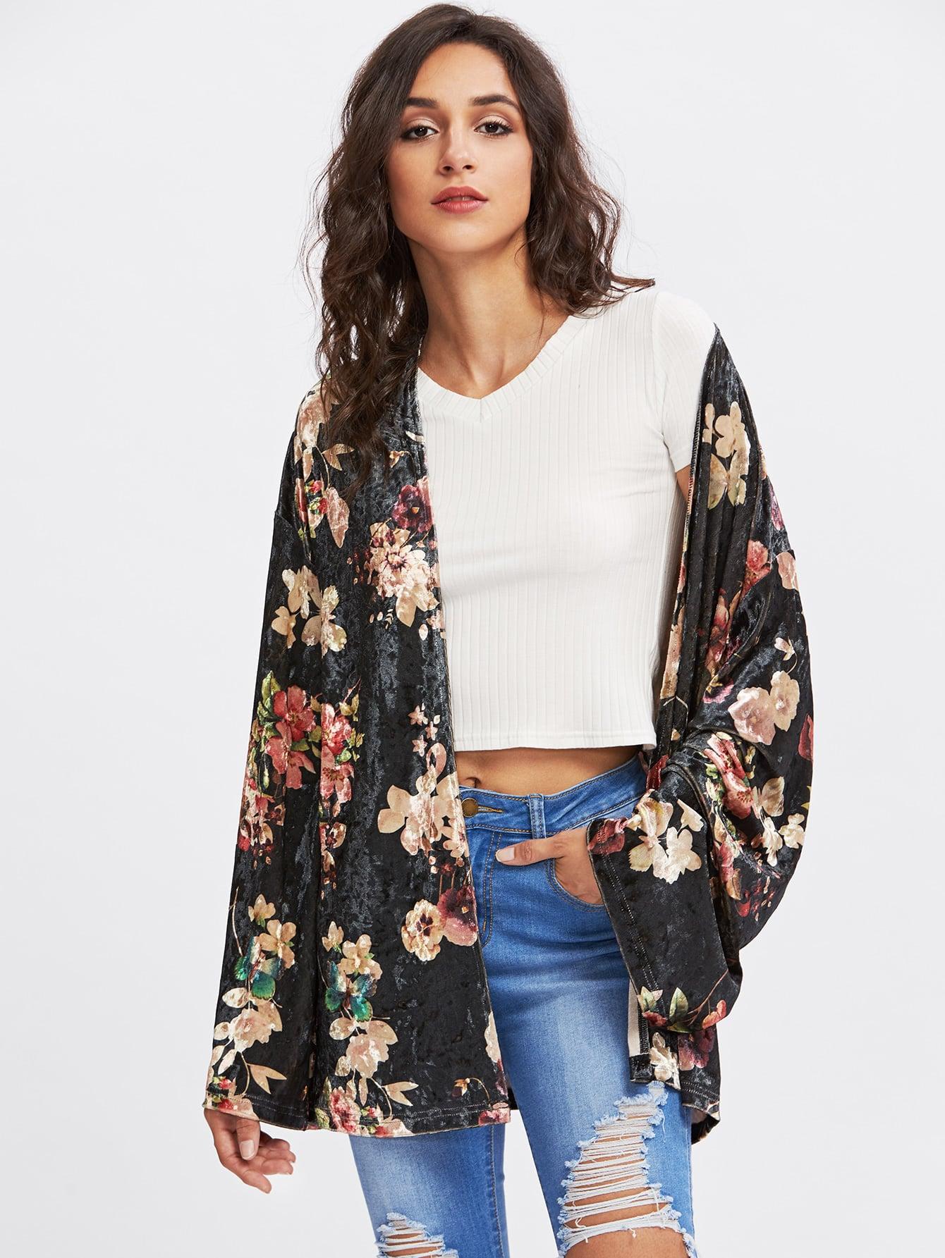 Open Front Floral Velvet Kimono Coat grey fashion sleeveless artificial fur open front coat