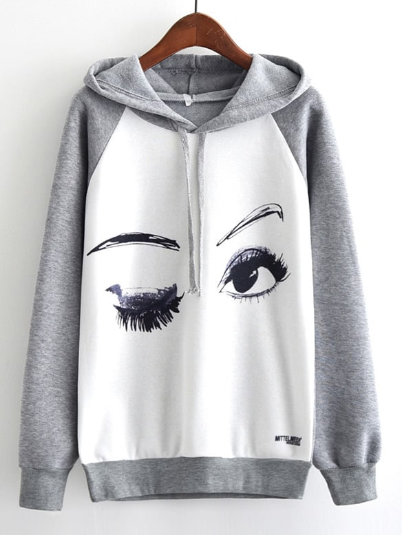 Купить Контрастный модный свитшот с принтом и капюшоном, null, SheIn