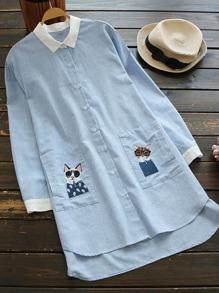 Contrast Trim Cat Embroidered Pocket Longline Blouse