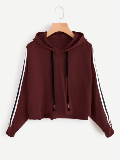 Stripe Tape Drop Shoulder Raw Hem Marled Hoodie