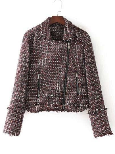 Oblique Zipper Tweed Jacket