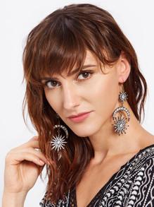 Rhinestone Moon & Sun Drop Statement Earrings