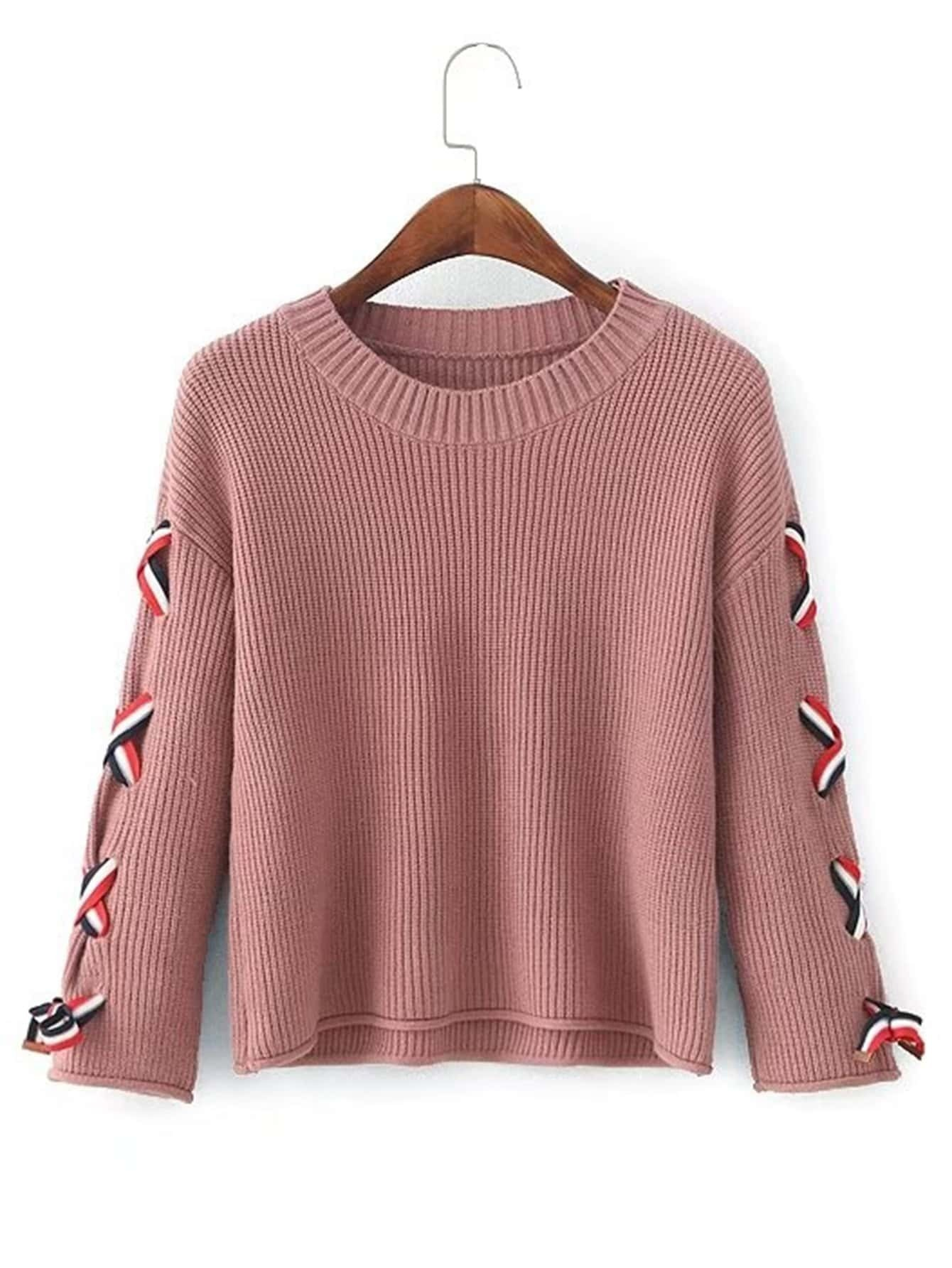 Lace Up Sleeve Ribbed Trim Sweater RKNI170904203