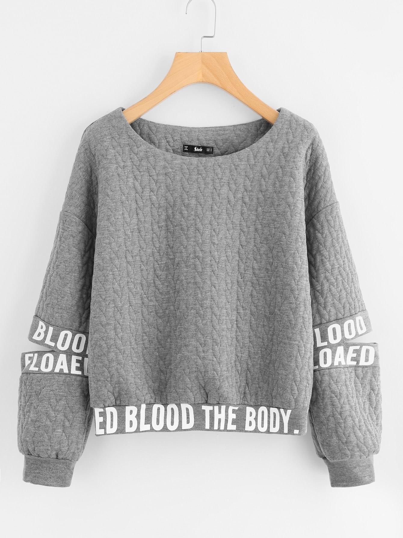 Drop Shoulder Cut Sleeve Quilted Sweatshirt ribbed drop shoulder sweatshirt