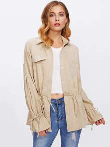 Drawstring Cuff And Waist Shirt Jacket