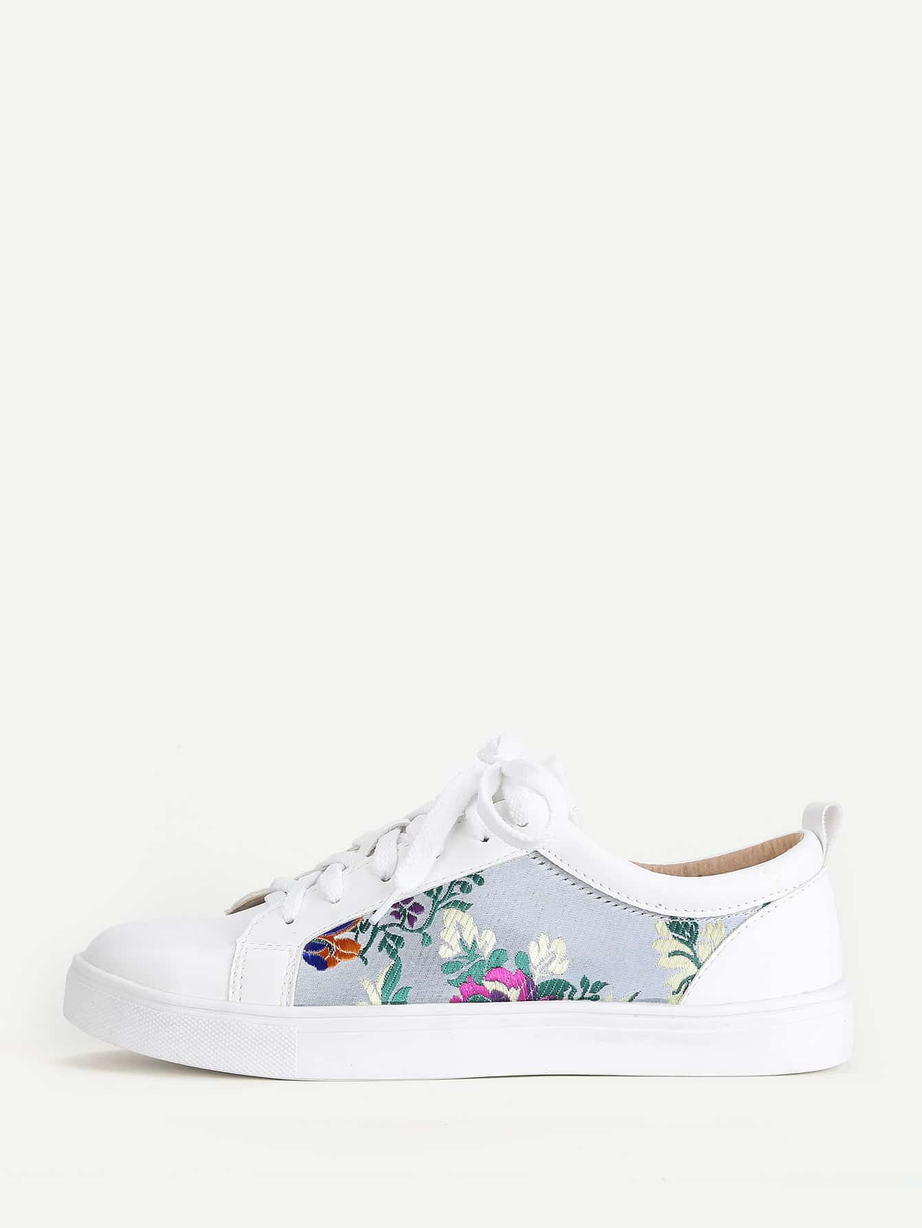 Flower Embroidery Lace Up Trainers woven detail lace up trainers