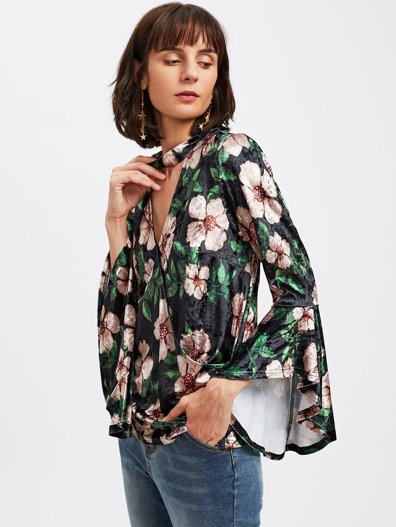 Choker Neck Trumpet Sleeve Floral Velvet Wrap Top choker neck bishop sleeve floral top