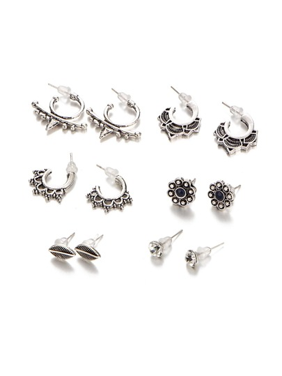 Leaf & Flower Design Earring Set 6 Pair