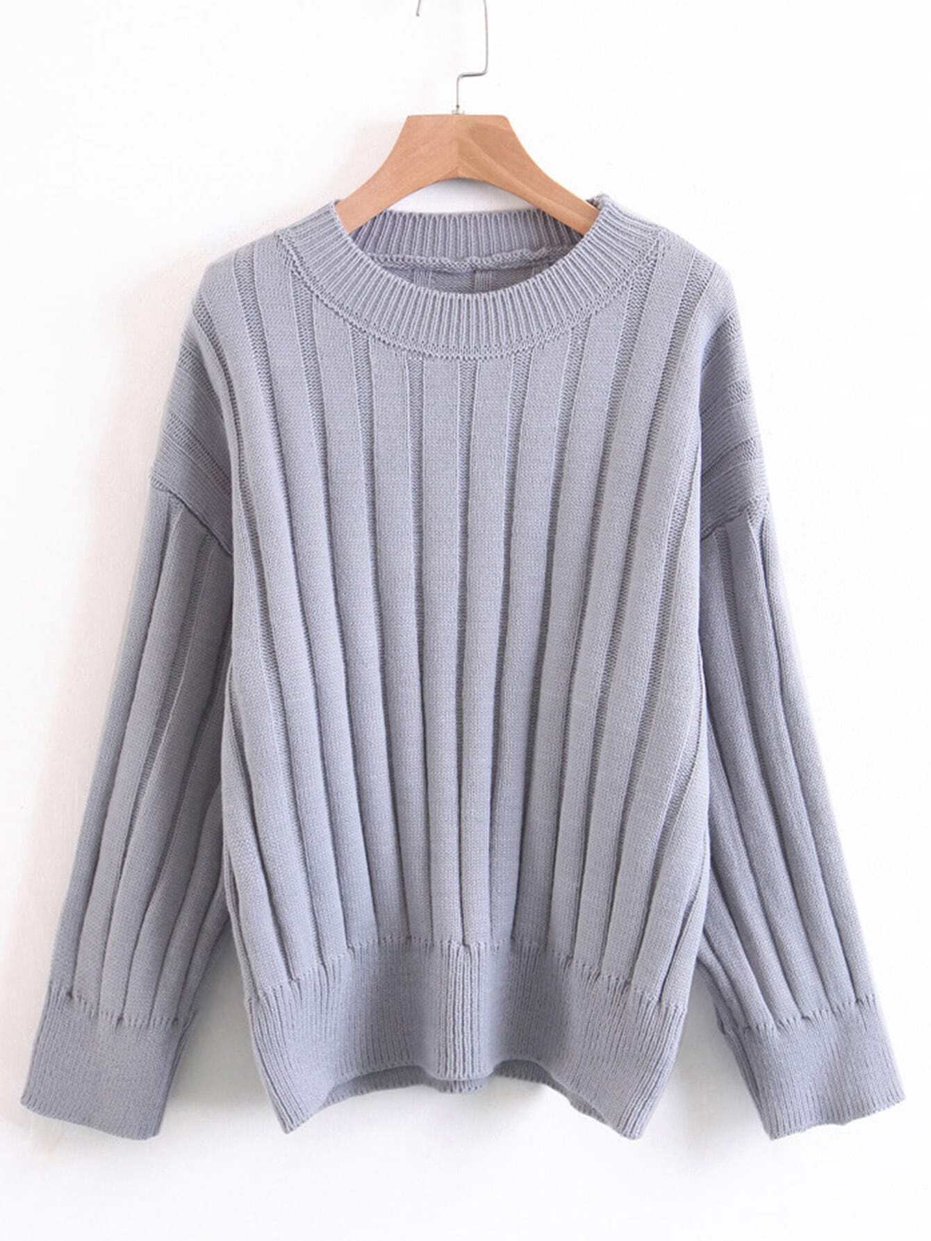 Drop Shoulder Ribbed Knit Sweater sweater170926206