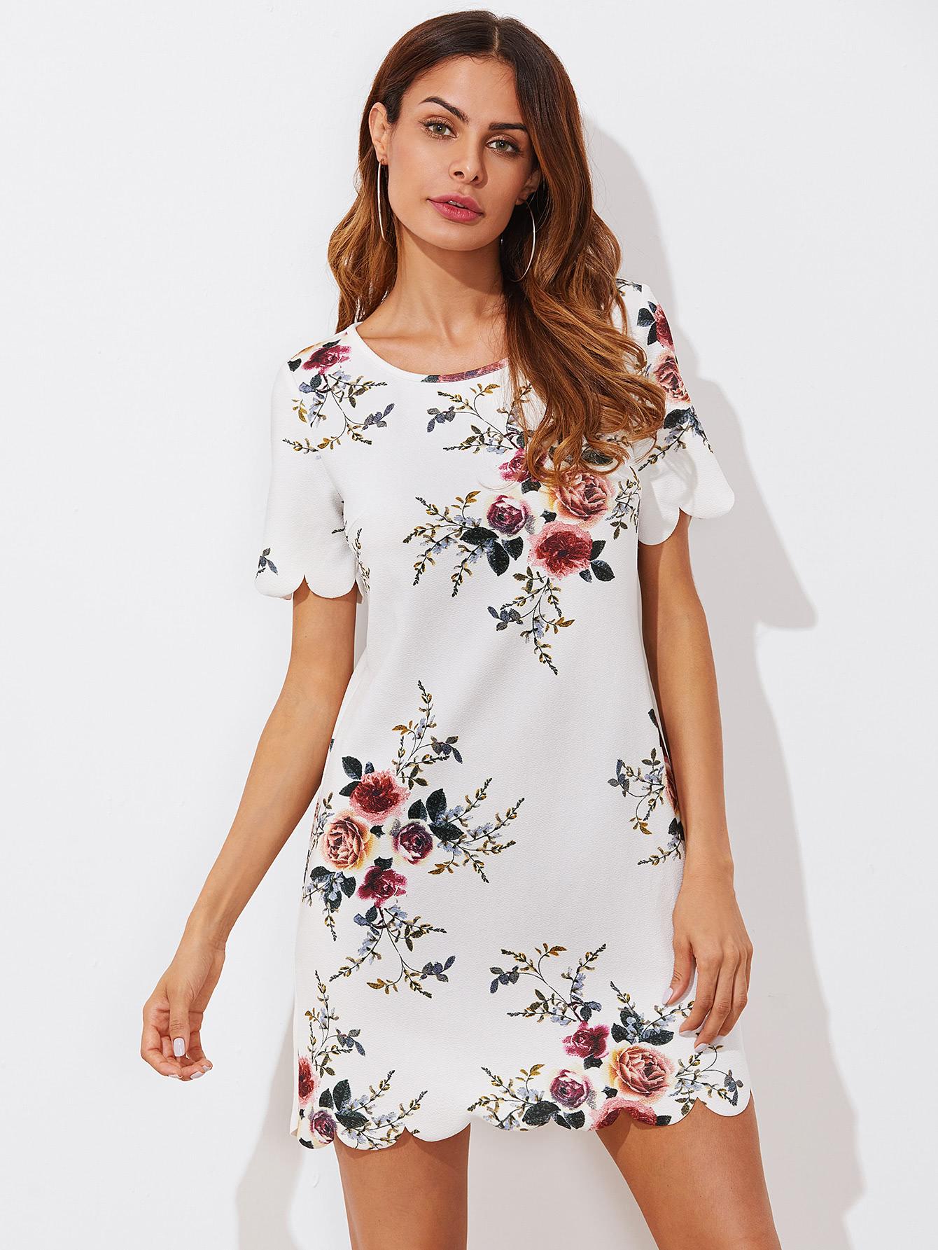 Купить Модное платье с принтом и фестонами, Andy, SheIn