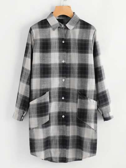 Dual Pocket Checkered Shirt Dress