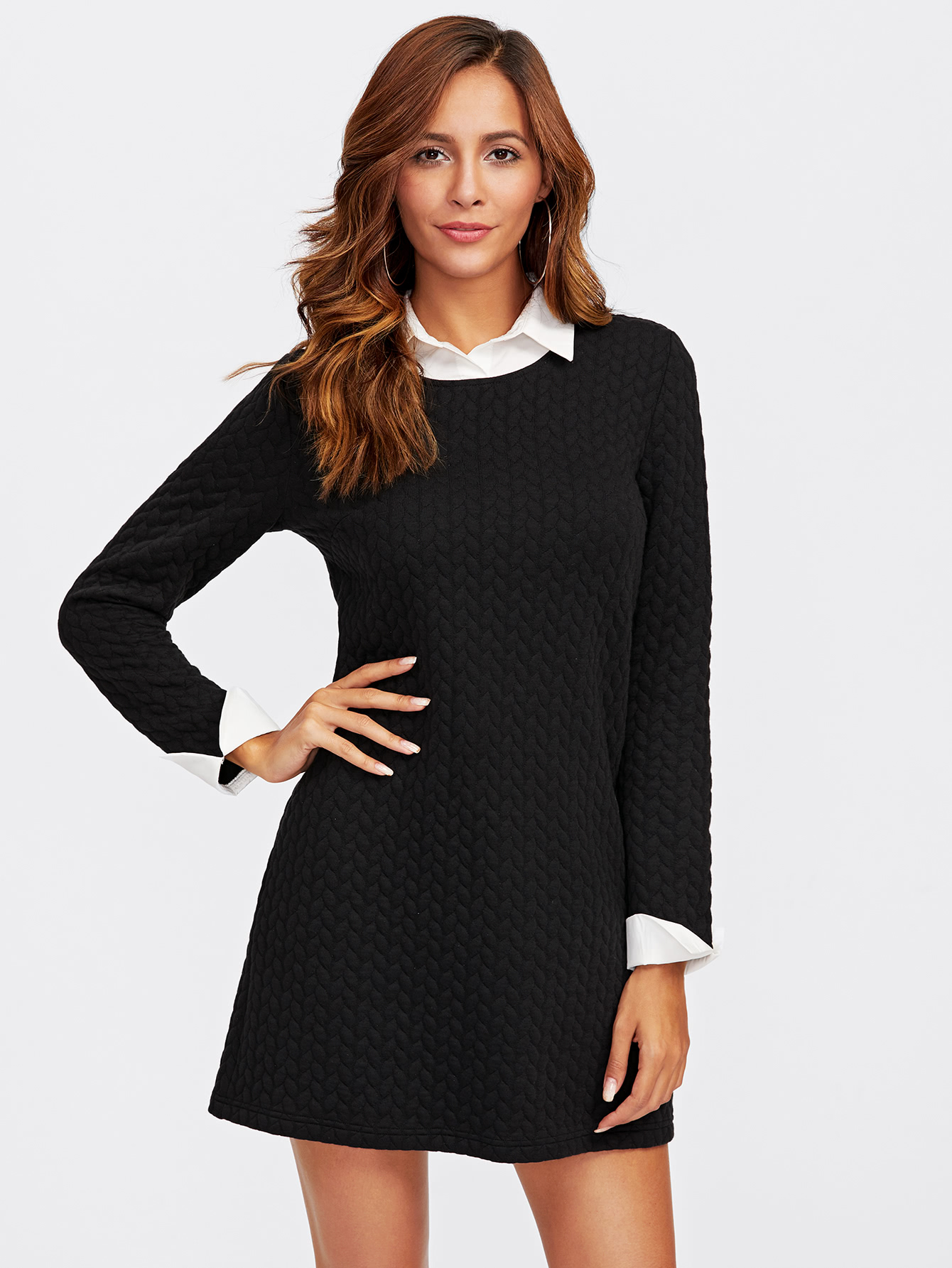 Contrast Collar And Cuff Textured 2 In 1 Dress lace collar and cuff tunic dress