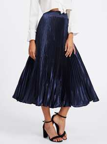 Box Pleated Satin Skirt