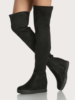 Flat Sole Zip Up Thigh High Boots BLACK