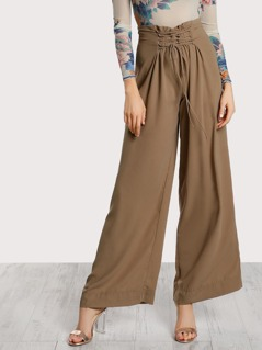 Lace Up Flare Leg Pants TAUPE