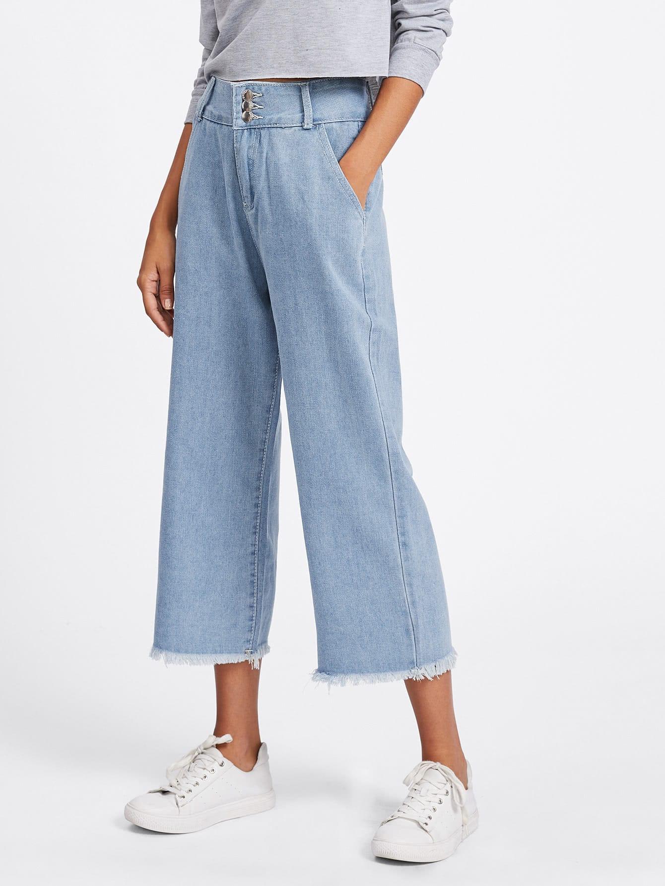Raw Hem Wide Leg Jeans