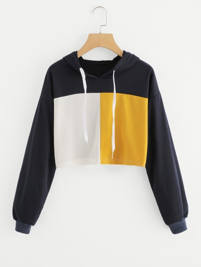 Color Block Drawstring Crop Hoodie