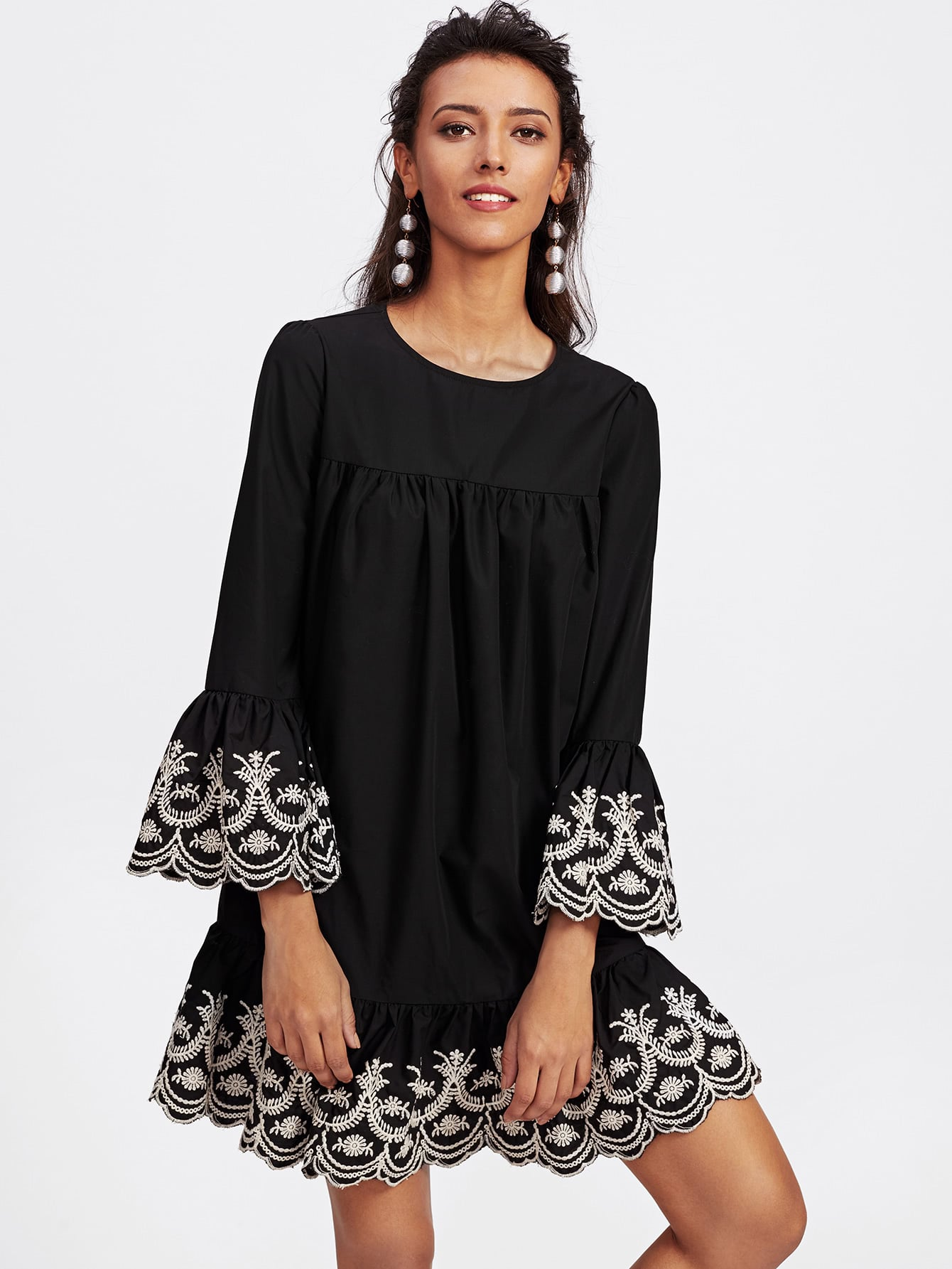 Vine Embroidered Ruffle Cuff And Hem Scalloped Dress embroidered double layer asym hem sheath dress