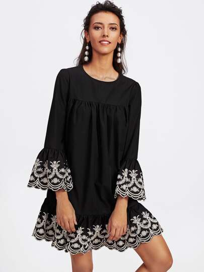 Vine Embroidered Ruffle Cuff And Hem Scalloped Dress