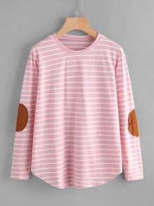 Tee-shirt à rayures avec pièce de coude