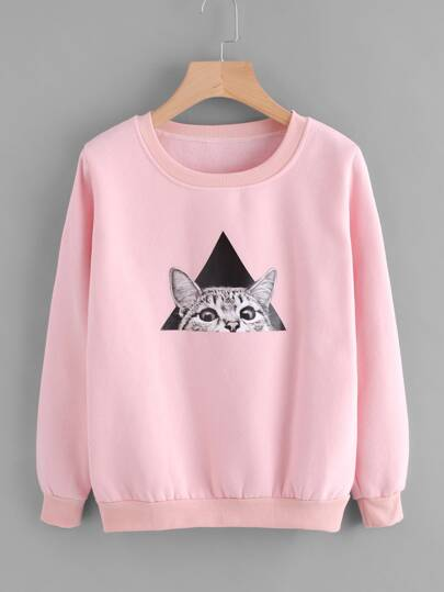 Cat Print Ribbed Trim Sweatshirt