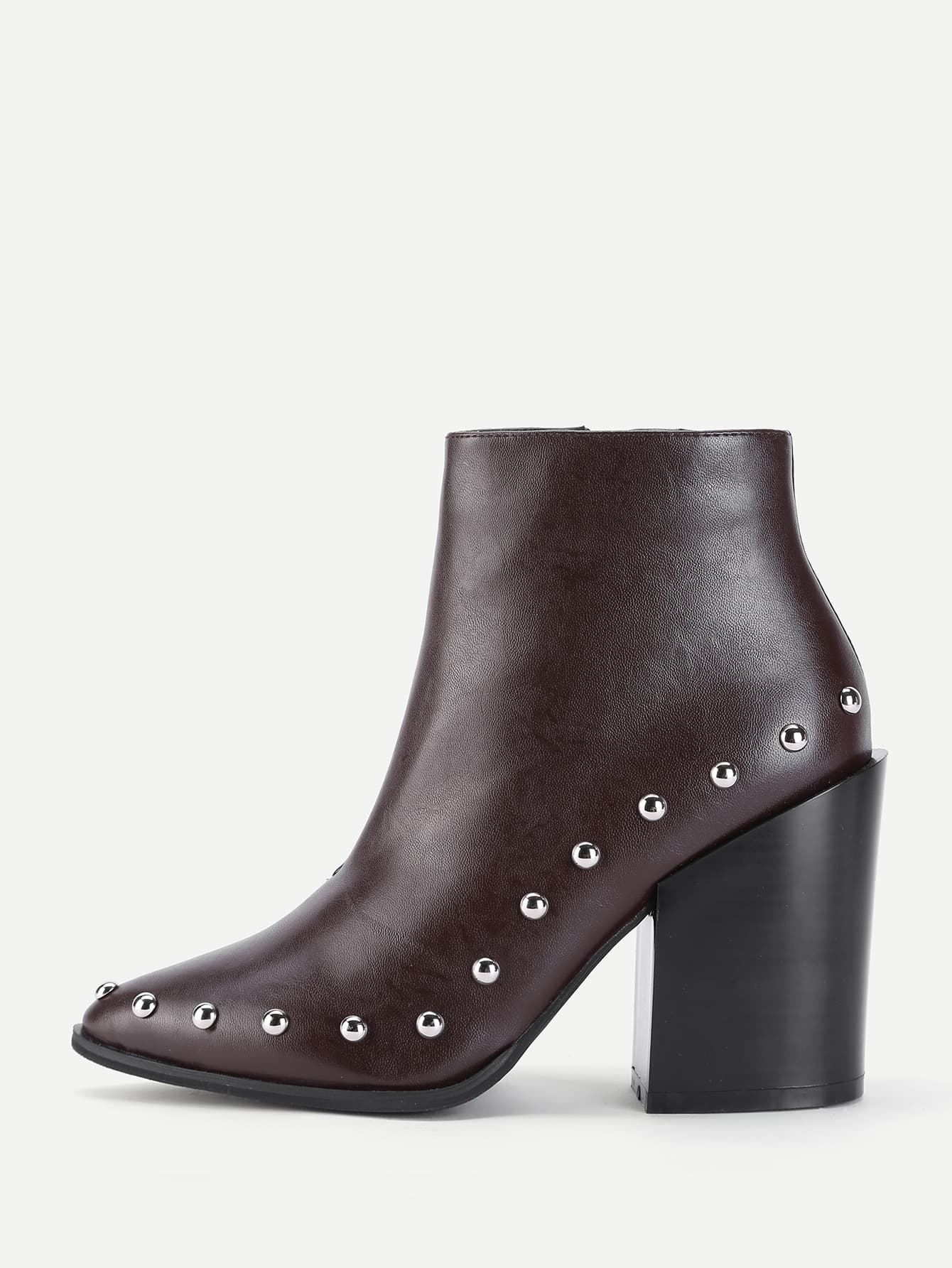Studded Trim Block Heeled Ankle Boots heeled chelsea boots