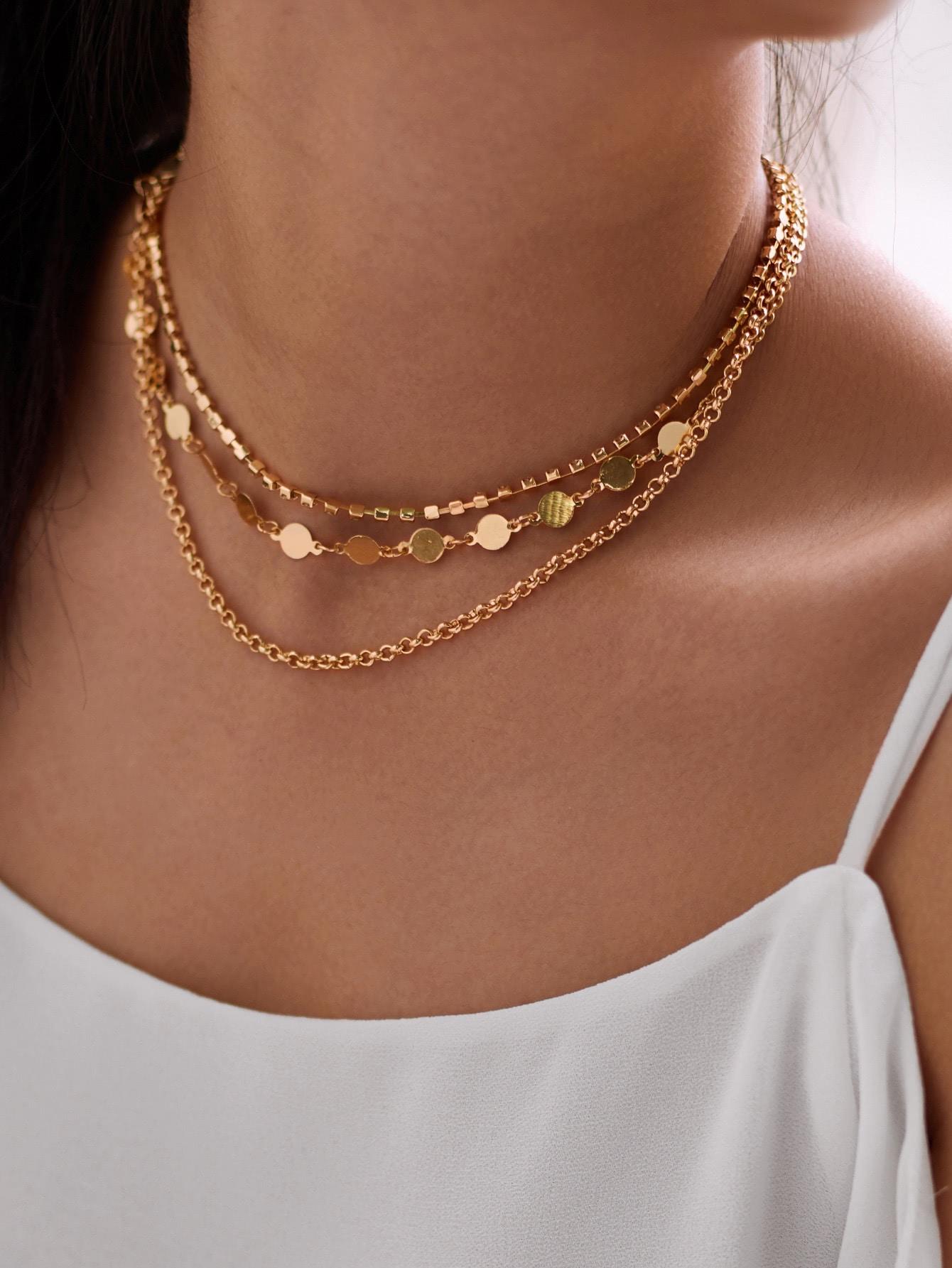 Rhinestone & Beaded Design Layered Necklace