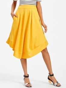 Asymmetrical Hem Pocket Side Pleated Skirt