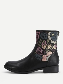 Flower Embroidery PU Ankle Boots