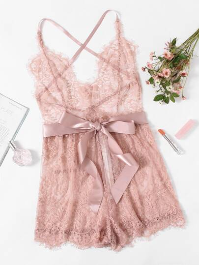 Ribbon Tie Waist Plunging Lace Sleep Romper