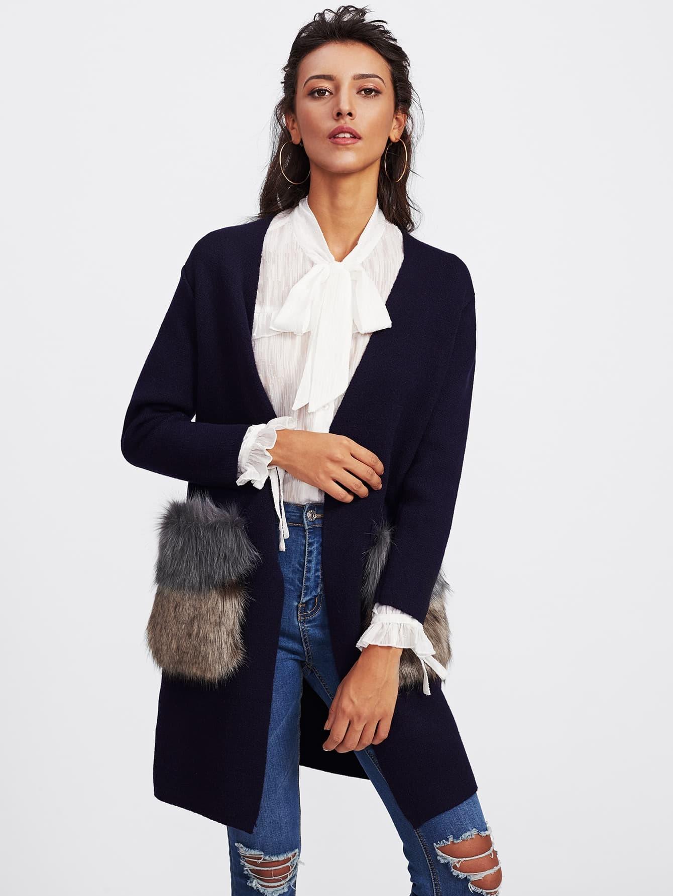 Faux Fur Embellished Pocket Longline Cardigan -SheIn(Sheinside)