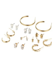Hoop & Rhinestone Design Earring Set