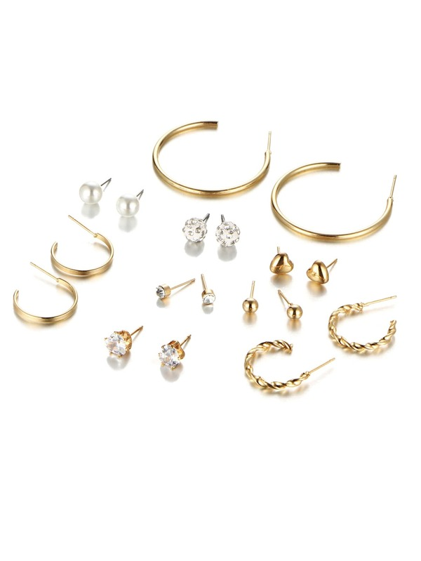 Hoop & Rhinestone Design Earring Set by Sheinside